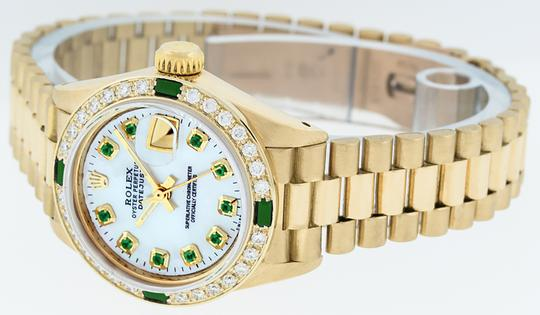 Rolex Ladies Datejust 18k Yellow Gold with MOP Emerald Dial Image 4