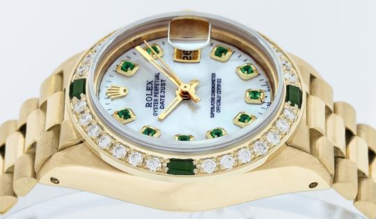 Rolex Ladies Datejust 18k Yellow Gold with MOP Emerald Dial Image 5