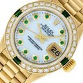 Rolex Ladies Datejust 18k Yellow Gold with MOP Emerald Dial Image 0