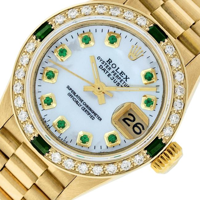 Rolex White Ladies Datejust 18k Yellow Gold with Mop Emerald Dial Watch Rolex White Ladies Datejust 18k Yellow Gold with Mop Emerald Dial Watch Image 1