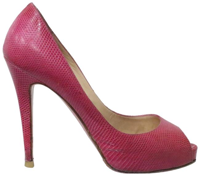 Christian Louboutin Pink Very Prive Snakeskin Platform Pumps Size EU 37.5 (Approx. US 7.5) Regular (M, B) Christian Louboutin Pink Very Prive Snakeskin Platform Pumps Size EU 37.5 (Approx. US 7.5) Regular (M, B) Image 1