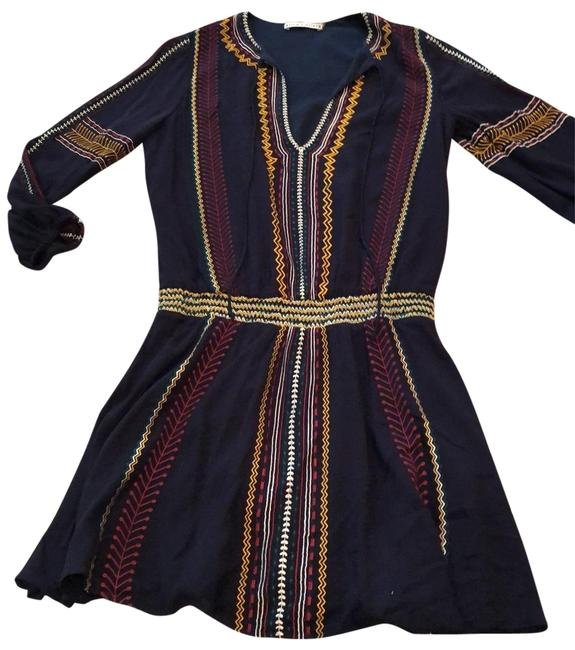 Item - Navy Stiched Mid-length Short Casual Dress Size 4 (S)