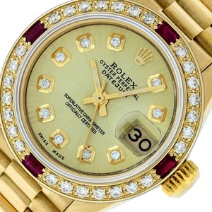 Rolex Ladies Datejust 18k Yellow Gold with Diamond Dial Watch