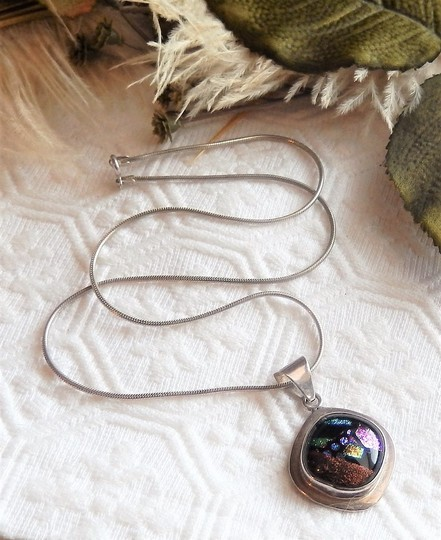 Handmade Artisan Crafted Sterling Silver Dichroic Glass Necklace Image 1