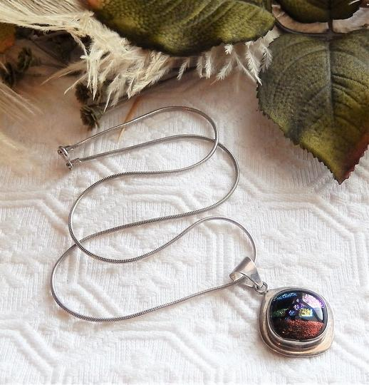 Handmade Artisan Crafted Sterling Silver Dichroic Glass Necklace Image 6