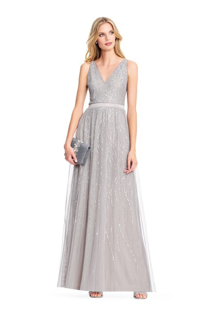 Adrianna Papell Platinum Sleeveless Tulle A-line Gown with Sequin Ripples Long Formal Dress Size 16 (XL, Plus 0x) Adrianna Papell Platinum Sleeveless Tulle A-line Gown with Sequin Ripples Long Formal Dress Size 16 (XL, Plus 0x) Image 1