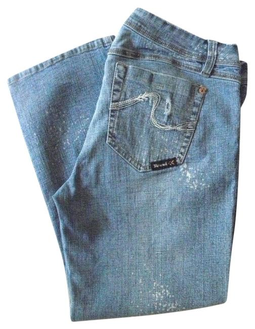 Rewind Blue Distressed Stretch Capri/Cropped Jeans Size 33 (10, M) Rewind Blue Distressed Stretch Capri/Cropped Jeans Size 33 (10, M) Image 1