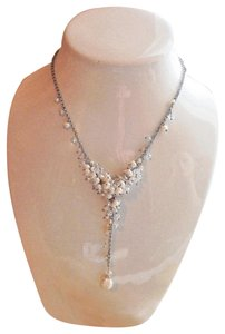 Handmade Artisan Sterling Silver Pearl Swarovski Crystal Adjustable Y Necklace