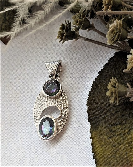 Handmade Unique Modernist Artisan Sterling Silver Faceted Mystic Topaz Pendant Image 1