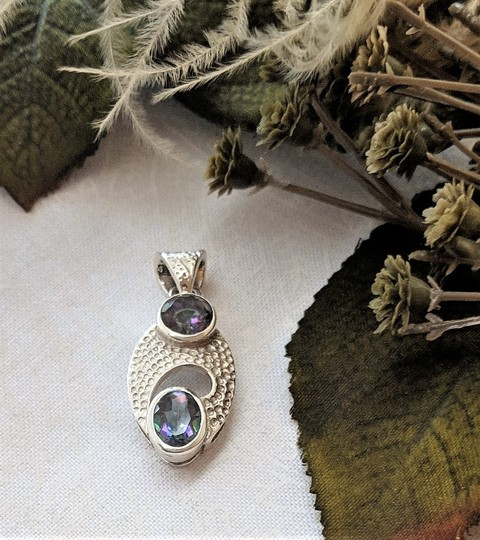 Handmade Unique Modernist Artisan Sterling Silver Faceted Mystic Topaz Pendant Image 7