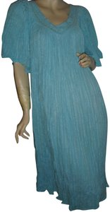 turquoise, as pictured Maxi Dress by Bohemian Gauze Hippie Style Gypsy Style Style Crinkled Cotton Maxi Maxi