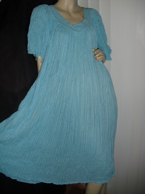 turquoise, as pictured Maxi Dress by Bohemian Gauze Hippie Style Gypsy Style Style Crinkled Cotton Maxi Maxi Image 3