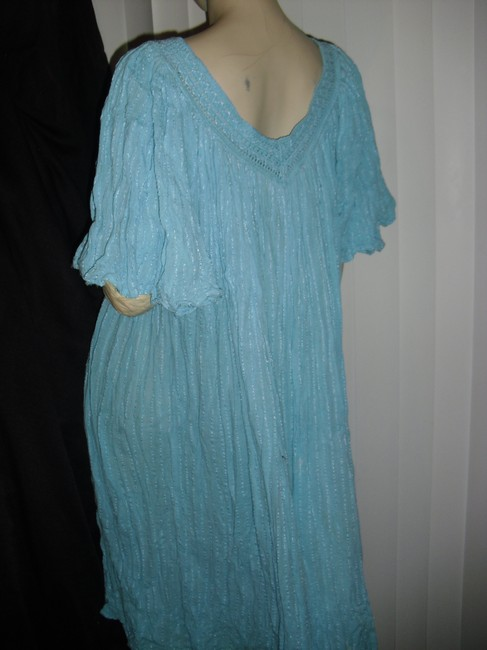 turquoise, as pictured Maxi Dress by Bohemian Gauze Hippie Style Gypsy Style Style Crinkled Cotton Maxi Maxi Image 4
