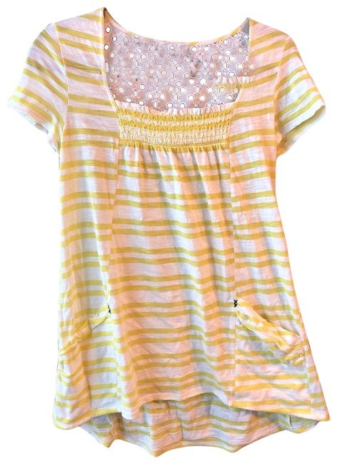 Preload https://img-static.tradesy.com/item/25522612/anthropologie-yellowwhite-meadow-rue-striped-tunic-tee-shirt-size-8-m-0-1-650-650.jpg