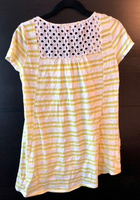 Anthropologie T Shirt Yellow/White Image 1