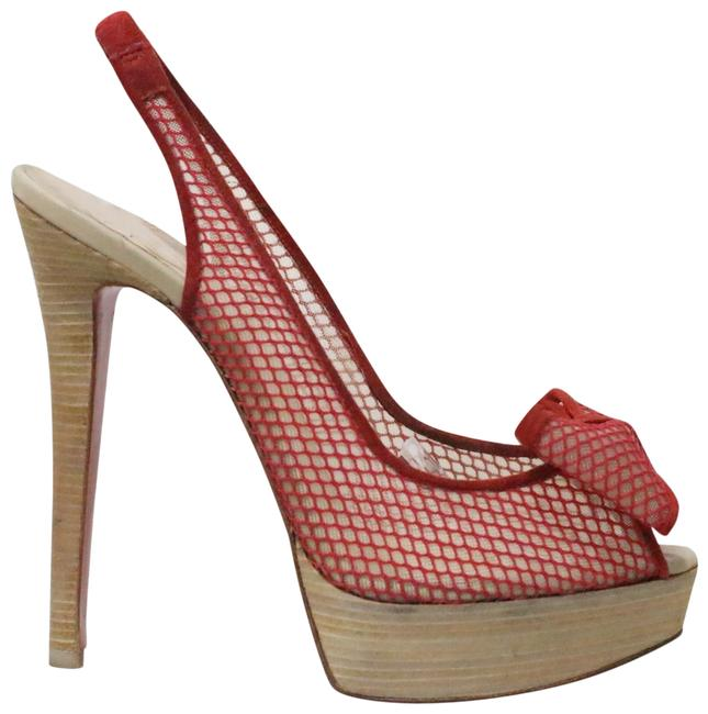 Christian Louboutin Red Exclu Mesh Sling Pumps Size EU 36.5 (Approx. US 6.5) Regular (M, B) Christian Louboutin Red Exclu Mesh Sling Pumps Size EU 36.5 (Approx. US 6.5) Regular (M, B) Image 1