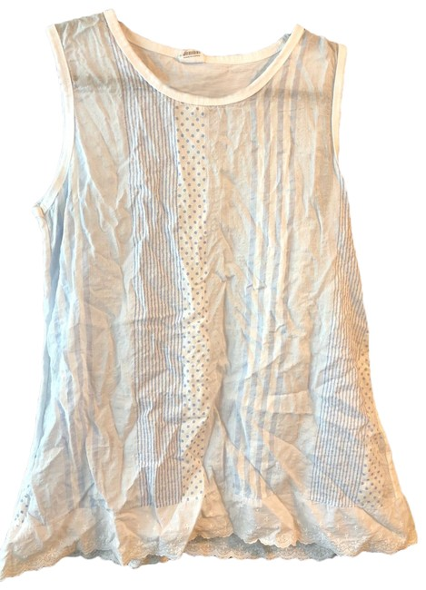 White/Light Blue - Cotton Tank Top/Cami Size OS (one size) White/Light Blue - Cotton Tank Top/Cami Size OS (one size) Image 1