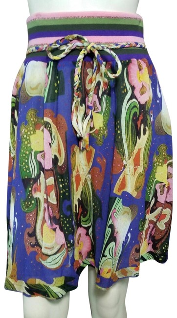 Oilily Multi-color Rainbow Waistband Cotton Silk Blend Floral Print A-line Skirt Size 4 (S, 27) Oilily Multi-color Rainbow Waistband Cotton Silk Blend Floral Print A-line Skirt Size 4 (S, 27) Image 1