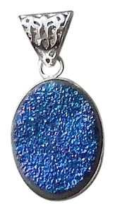 Handmade Artisan Crafted Sterling Silver Blue/Purple Druzy Pendant