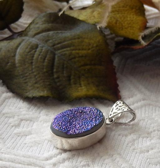 Handmade Artisan Crafted Sterling Silver Blue/Purple Druzy Pendant Image 2