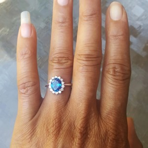 Deep Blue 925 Sterling 2 Ct Oval Halo Cz Size 6 Ring