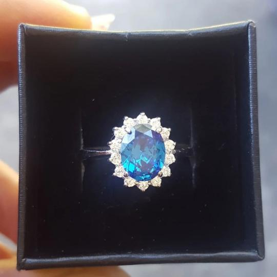 Deep Blue 925 Sterling 2 Ct Oval Halo Cz Size 6 Ring Image 1