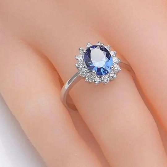 Deep Blue 925 Sterling 2 Ct Oval Halo Cz Size 6 Ring Image 2