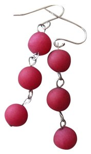 Handmade OOAK Sterling Silver Raspberry Red Jadeite Linear Dangle Earrings