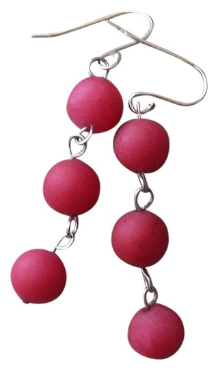 Handmade OOAK Sterling Silver Raspberry Red Jadeite Linear Dangle Earrings Image 0