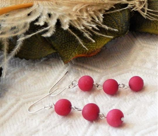 Handmade OOAK Sterling Silver Raspberry Red Jadeite Linear Dangle Earrings Image 1