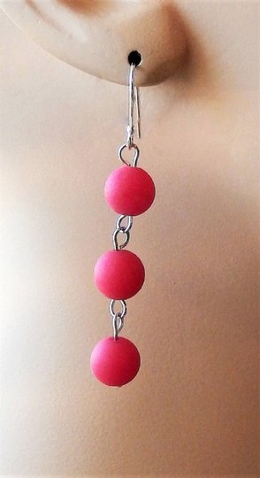 Handmade OOAK Sterling Silver Raspberry Red Jadeite Linear Dangle Earrings Image 2
