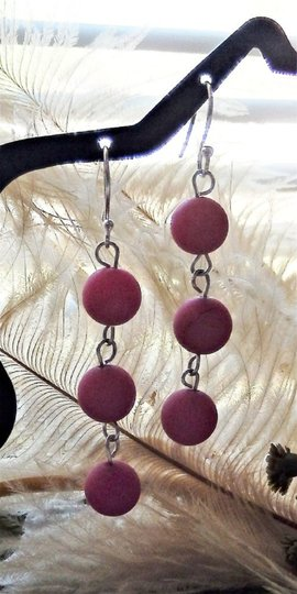 Handmade OOAK Sterling Silver Raspberry Red Jadeite Linear Dangle Earrings Image 4