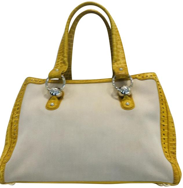 Céline Crocodile Embossed Leather And Yellow Canvas Tote Céline Crocodile Embossed Leather And Yellow Canvas Tote Image 1