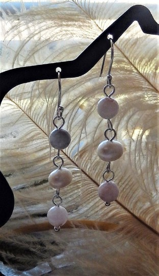 Handmade One of a Kind Sterling Silver Pearl Agate Linear Dangle Earrings Image 2
