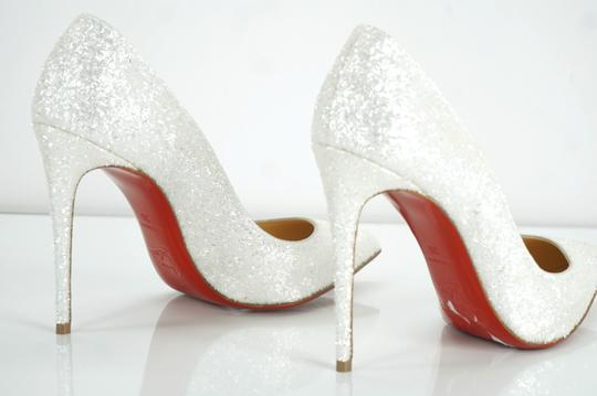new styles 07c7c 58bfe Christian Louboutin White Pigalle Follies Glitter Pointy Toe Pumps Size EU  36 (Approx. US 6) Regular (M, B) 22% off retail
