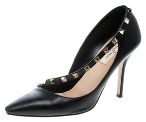 Valentino Leather Embellished Pointed Toe Black Pumps