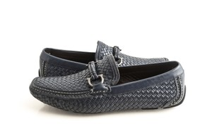 Salvatore Ferragamo Blue 'round' Woven Leather Driving Marine Shoes