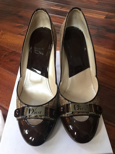 Dior Brown patent and beige cloth with Dior imprint Pumps Image 1