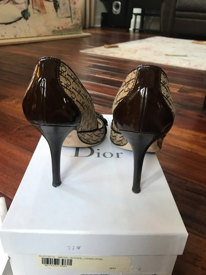 Dior Brown patent and beige cloth with Dior imprint Pumps Image 2