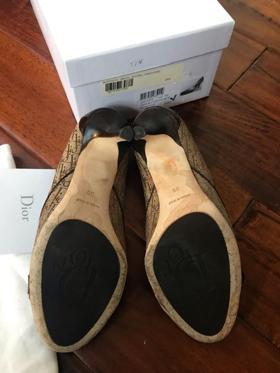 Dior Brown patent and beige cloth with Dior imprint Pumps Image 3