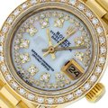 Rolex White Ladies Datejust 18k Yellow Gold with Mop String Diamond Dial Watch Rolex White Ladies Datejust 18k Yellow Gold with Mop String Diamond Dial Watch Image 1