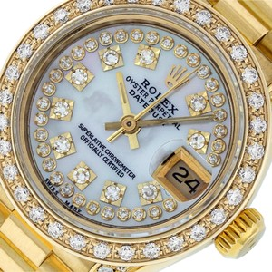 Rolex Ladies Datejust 18k Yellow Gold with MOP String Diamond Dial