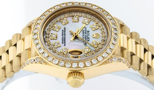 Rolex Ladies Datejust 18k Yellow Gold with MOP String Diamond Dial Image 6