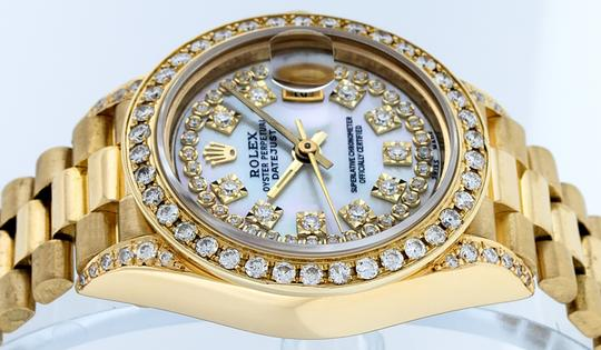 Rolex Ladies Datejust 18k Yellow Gold with MOP String Diamond Dial Image 7