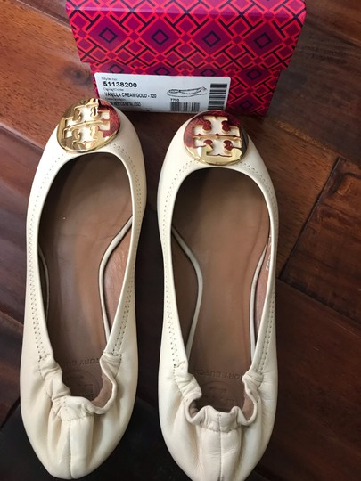 Tory Burch vanilla cream with gold logo Wedges Image 1