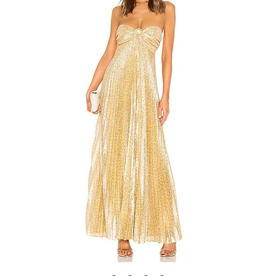 Alexis Gold Polyester In Lame Formal Bridesmaid/Mob Dress Size 12 (L) Image 4