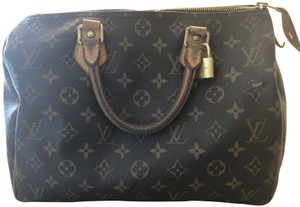 Louis Vuitton Monogram Speedy Leather Lv Tote in Brown