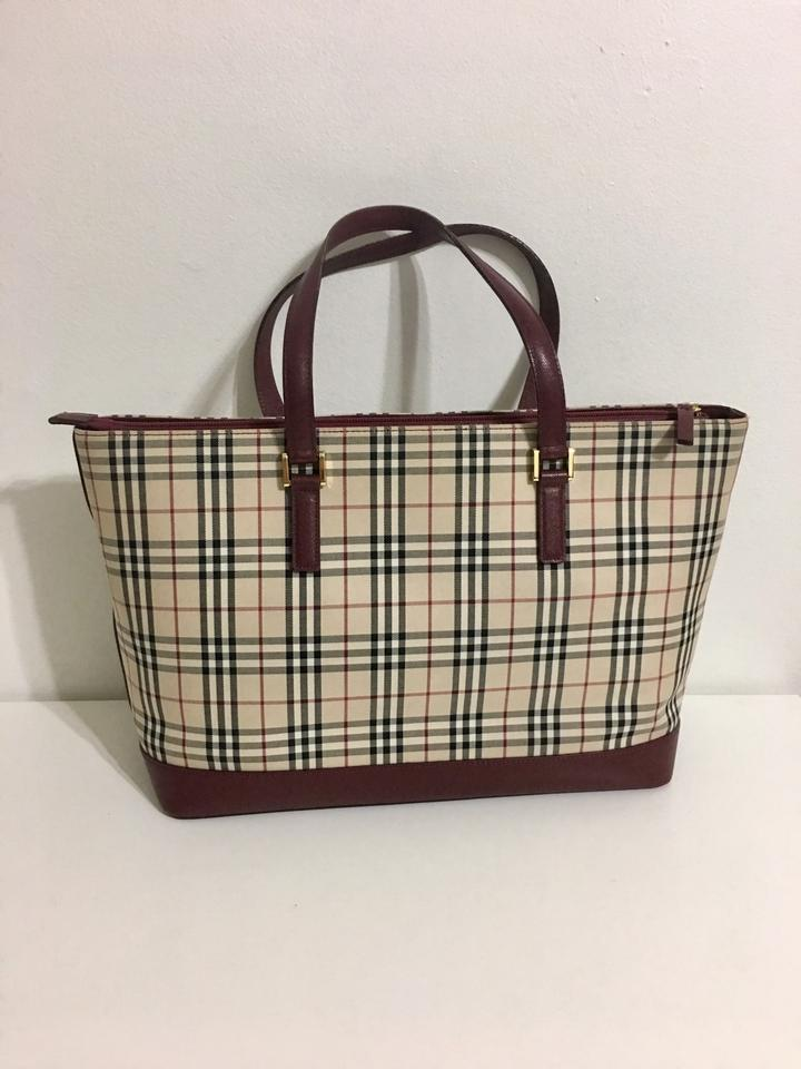 f8d50a183 Burberry Nova Check Pattern Large with Burgundy Leather Brown Canvas Tote