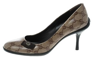 5c4b69d3bf Gucci Crystal Canvas Bow Leather Beige Pumps