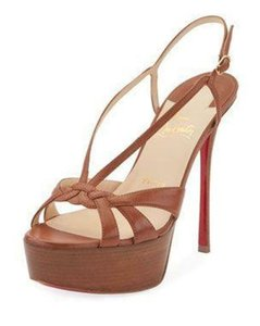 Christian Louboutin Heels Slingback Platform Wooden Brown Sandals